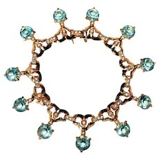 Vintage Lt Aquamarine and Diamante Rhinestone Bracelet