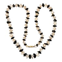 Vintage Necklace Aventurine and Quartz Golden Bead