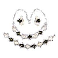 Vintage Frosted Satin Glass Necklace Bracelet Earrings Black White