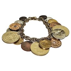 Vintage Coro Coin Charm Bracelet Gold Tone