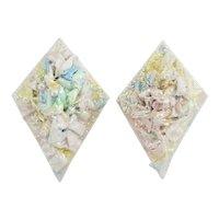 Vintage Earrings Faux Pearl Glitter Paper Mache Signed