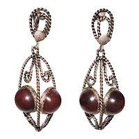 Vintage Amber Pendant Earrings Bullet Cabochons