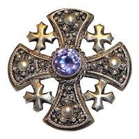 Vintage Jerusalem Cross Brooch Rhinestone Amethyst