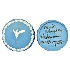 Wedgwood Blue Jasperware Round Box Signed Mark Mayson