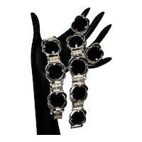 Vintage MCM Elizabeth Morrey Onyx Glass Set 2 Bracelets Earrings