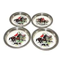 Revere Pewter Ceramic Coasters Hunt Scene Set 4