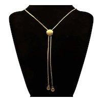 Vintage Slide Necklace Gold Tone Chain Ribbed Detail