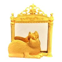 Vintage JJ Cat Mirror Brooch
