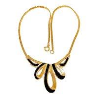Vintage Trifari Black Enamel Necklace Gold Plated Snake Chain
