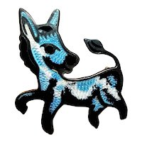 Vintage Jeronimo Fuentes Sterling Enamel Donkey Brooch JF Taxco Mexico