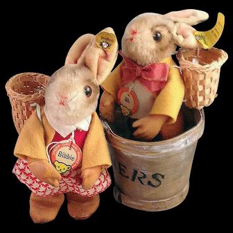 """Darling vintage pair of Steiff Bunnies, """"Bib"""" and """"Bibbie""""."""