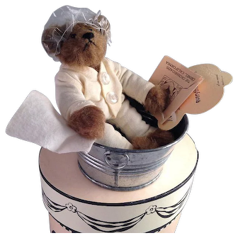 Adorable Little Artist Made Teddy in His Tin Bath tub!