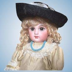 Beautiful Black Raffia Antique Doll Hat