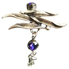 Designs by Ali Antiqued Silver Plated Chain and Swaying Leaf Connector with Heliotrope Color Swarovski Bracelet