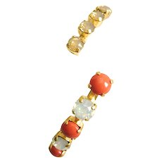 Designs by Ali Matte Gold with Coral Pearl, White Opal and Sand Opal Swarovski Bangle
