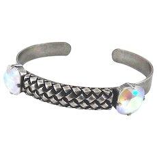 Designs by Ali Antiqued Silver Plated with Powder Grey AB Swarovski Bracelet