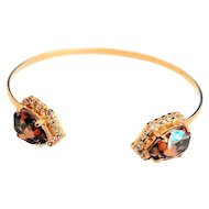 Designs by Ali Matte Gold Plated with Crystal and Astral Copper Swarovski Bangle