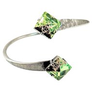 Designs by Ali Antiqued Silver Plated and Luminous Green Swarovski Bangle