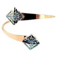 Designs by Ali Rose Gold Plated and Blue Shade Swarovski Bangle
