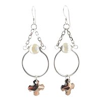 Designs by Ali Antiqued Silver Plated Pendant with White Tibetan Swirl and Rose Gold Swarovski Earrings