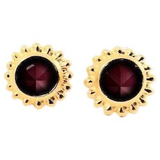 Designs by Ali Matte Gold Plated Brass Stud with Burgundy Satin Swarovski Earrings
