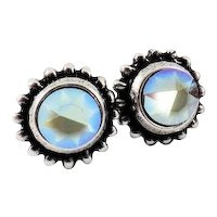 Designs by Ali Antique Silver Plated Brass with Sand Opal AB Swarovski Earrings