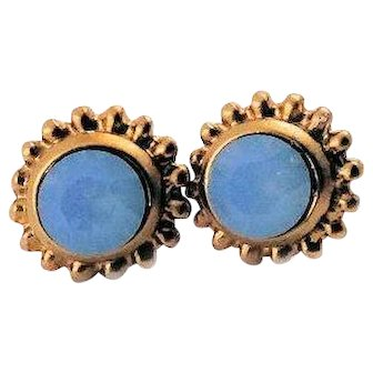 Designs by Ali Matte Bronze Plated and Aire Blue Opal Swarovski Earrings