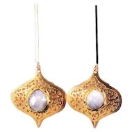 Designs by Ali 16K Polished Gold Plated Over Brass Post with Moonstone Earrings
