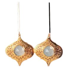 Designs by Ali 16K Polished Gold Plated Over Brass Post with Sea Green Chalcedony Earrings