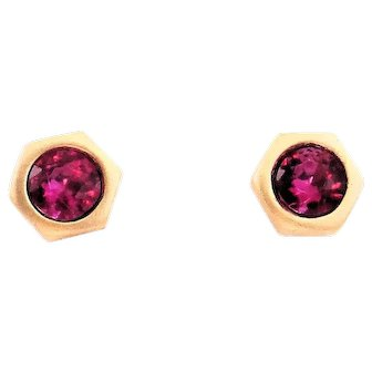 Designs by Ali Matte Gold Plated with Fuchsia Swarovski Earrings