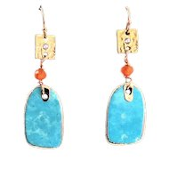 Designs by Ali Vermeil 18K Gold Plated Over Silver Connector with Turquoise Charm Earrings