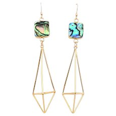 Designs by Ali 16K Gold Plated Over Brass Pendant with Gold Plated Over Copper Abalone Connector Earrings