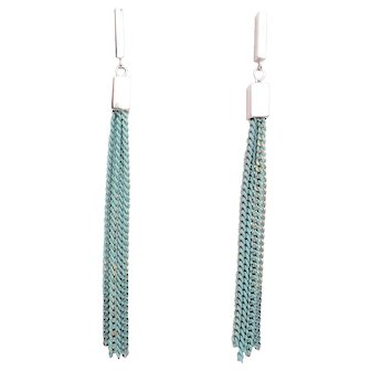 Designs by Ali Glossy Original Rhodium Plated Post and Mint Tassel Earrings