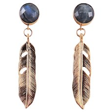 Designs by Ali 24K Gold Plated and Labradorite with Matte Gold Plated Pendant Earrings