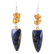 Designs by Ali Gold Plated and Lapis Lazuli Earrings