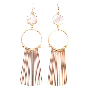 Designs by Ali 24K Gold Plated Copper Infused Bead and Gold Plated Over Brass Tassel Earrings