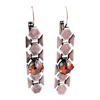 Antiqued Silver Plated Brass and Copper Swarovski Earrings