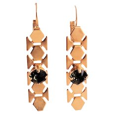 Designs by Ali Matte Gold Plated Brass with Smoky Quartz Swarovski Earrings