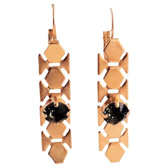 Designs by Ali Matte Gold Plated Brass with Smoky Quartz Swarovski Earrings