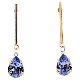 Designs by Ali Matte Gold Plated and Provence Lavender Swarovski Earrings