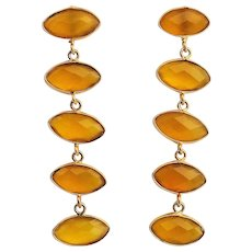Designs by Ali 22KT Gold Plated Brass and Mustard Yellow Chalcedony Earrings