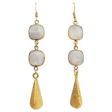 Designs by Ali Gold Plated and Natural Rainbow Moonstone Earrings