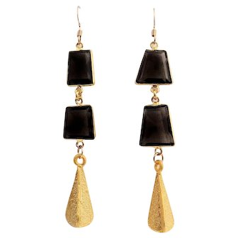 Designs by Ali Gold Plated and Natural Smoky Quartz Earrings