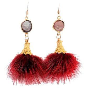 Designs by Ali Matte Gold Plated Cap with Burgundy Tassel and Natural Chocolate Moonstone Earrings