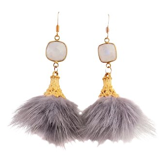 Designs by Ali Matte Gold Plated Cap with Grey Tassel and Natural Rainbow Moonstone Earrings