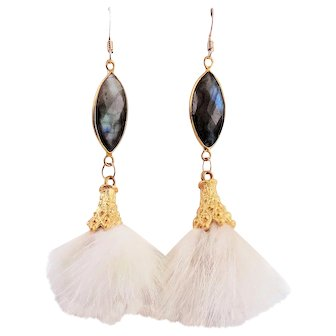 Matte Gold Plated Cap with Ivory Tassel and Blue Labradorite Earrings