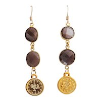 Designs by Ali Gold Plated and Natural Chocolate Moonstone Earrings