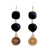 Designs by Ali Gold Plated and Natural Lapis Lazuli Earrings