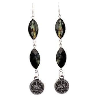 Designs by Ali Silver Plated and Blue Labradorite Earrings