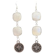 Designs by Ali Silver Plated and Natural Rainbow Moonstone Earrings